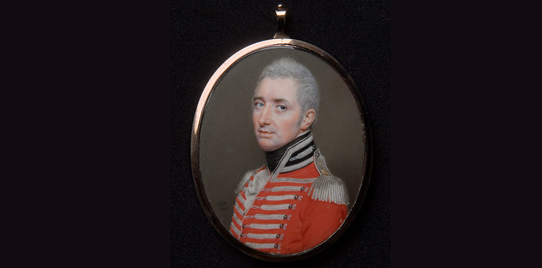 John Smart, English (1741/1742-1811). Portrait of General Keith MacAlister, 1810. Watercolor on ivory in copper mount, 3 3/8 x 2 ¾ inches (8.6 x 7 cm). The Nelson-Atkins Museum of Art, Kansas City, Missouri. Gift of the Starr Foundation, Inc., F65-41/51. Photo: Robert Newcombe