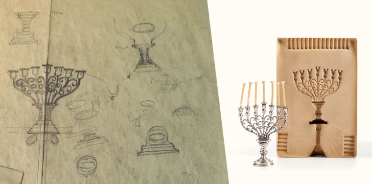 Menorah Molds and Sketches