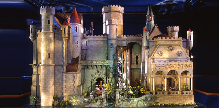 The exterior of Colleen Moore's Fairy Castle prior to the conservation. [J.B. Spector, Museum of Science and Industry]