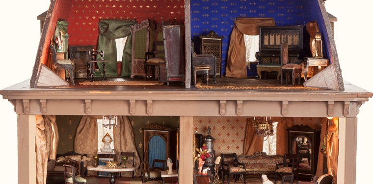 antique dollhouse wallpaper